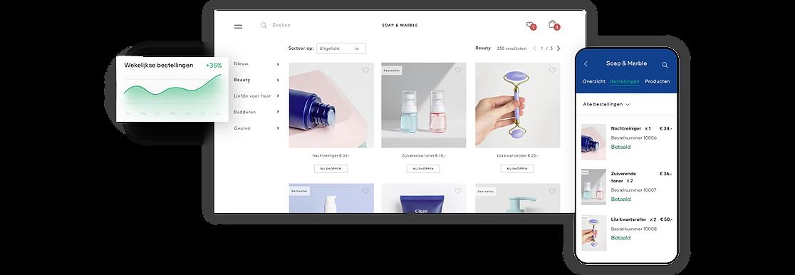 Productgalerij van een webshop voor beauty en wellness.