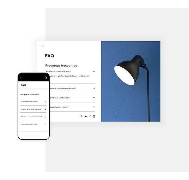 Página de preguntas frecuentes para una tienda online de lámparas en la computadora y en el móvil