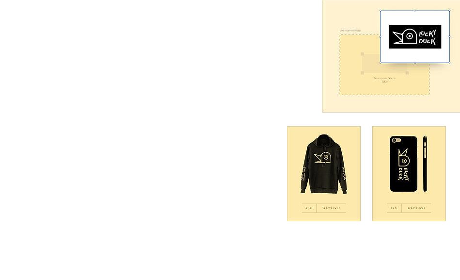 Üzerinde ördek tasarımları bulunan aksesuar ve kıyafetler satan print on demand online mağazası