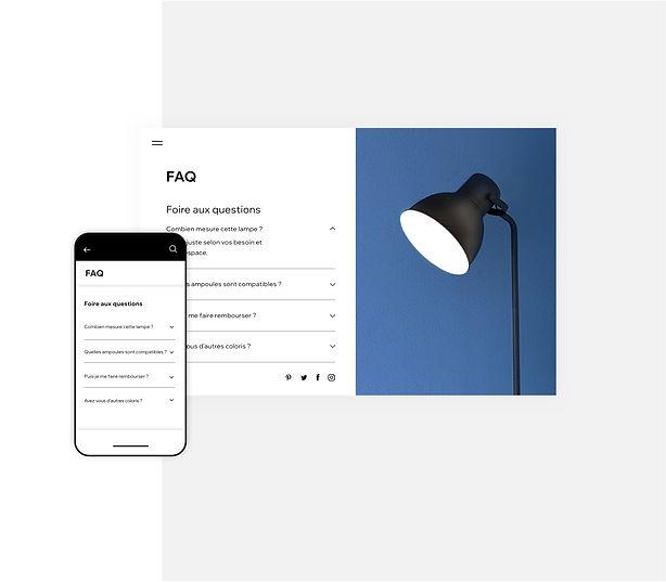 Page de FAQ pour une boutique de lampes en ligne sur ordinateur et mobile