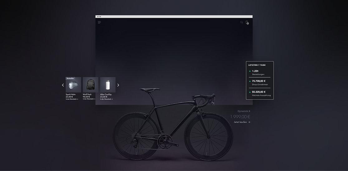 Online-Storefront eines Fahrradausrüstungsgeschäfts mit einem schwarzen Mountainbike, einer 7-Tage-Ladenübersicht, einer Produktgalerie und einer mobilen Kasse.