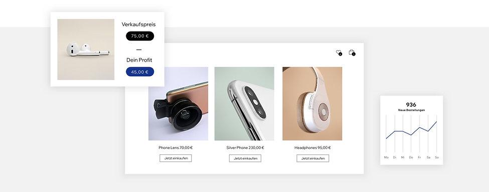 Dropshipping-Produkte einschließlich Handy-Zubehör und einem Gewinn-Rechner
