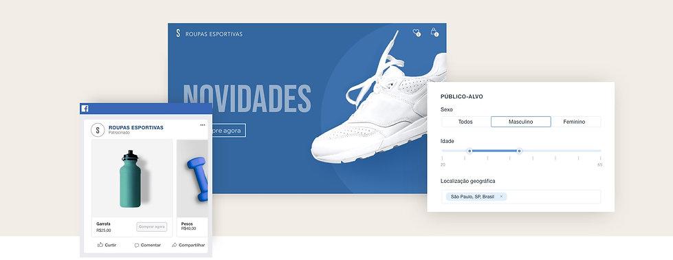 Anúncios do Facebook de uma loja online de fitness Wix