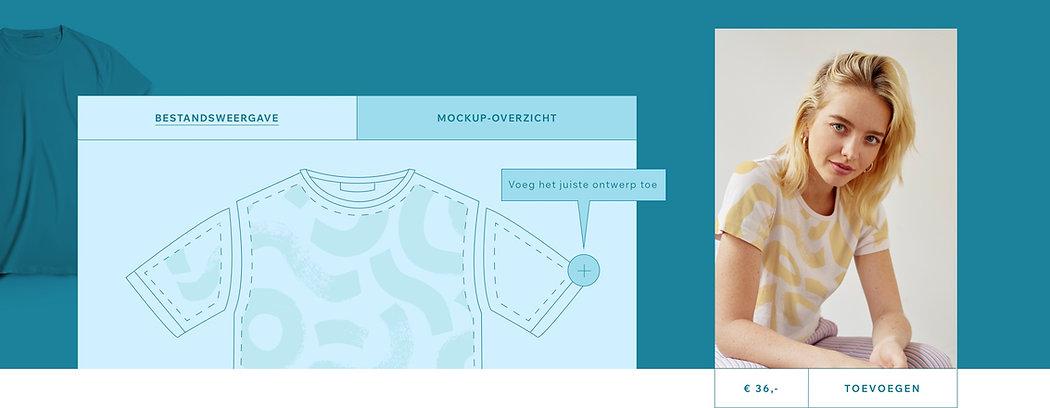 Een print on demand t-shirt ontwerpen in mockup-weergave