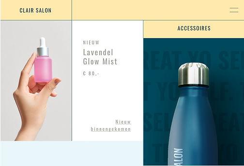 Salonwebsite met print on demand waterflessen met hun logo erop
