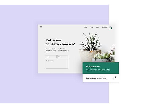 Página de contato e chat online de uma loja de plantas online