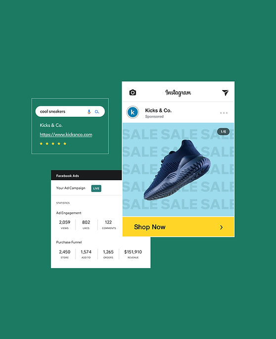 Marketing of online sneakers store with a Facebook Ads campaign, Google Ad optimization and Instagram Shop showing the product.