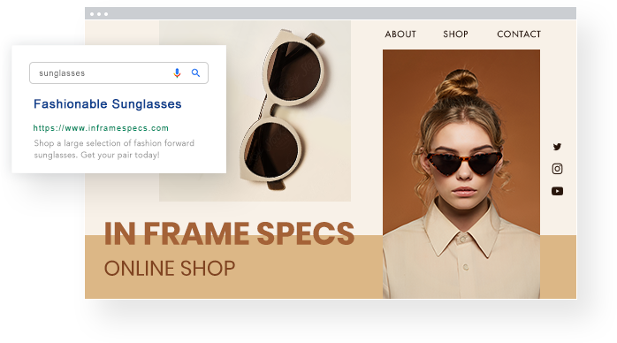 Sunglass website and Google Ad