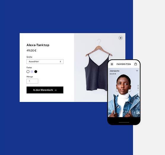 Online-Kleidershop mit Produkten auf Desktop und Handy