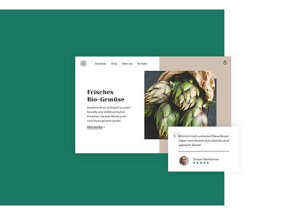 Startseite und Bewertungen des Gemüselieferdienst-Online-Shops.