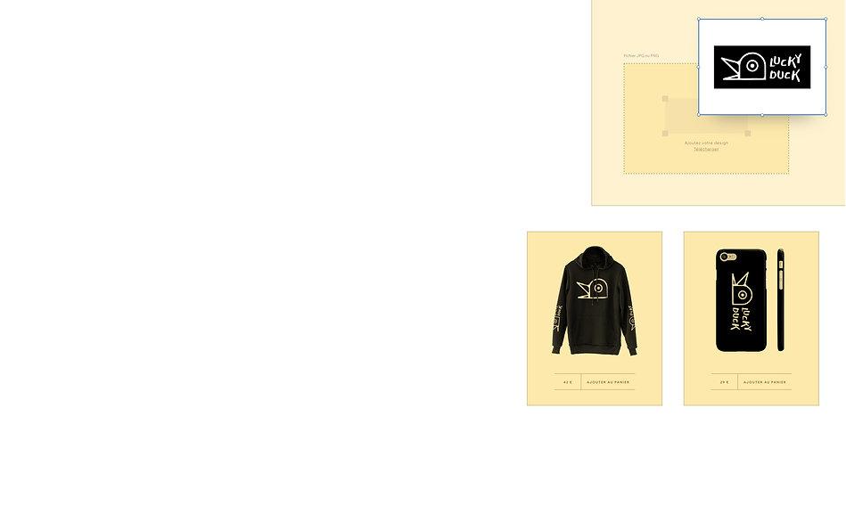 Boutique en ligne de print on demand qui vend des designs de canards sur accessoires et vêtements