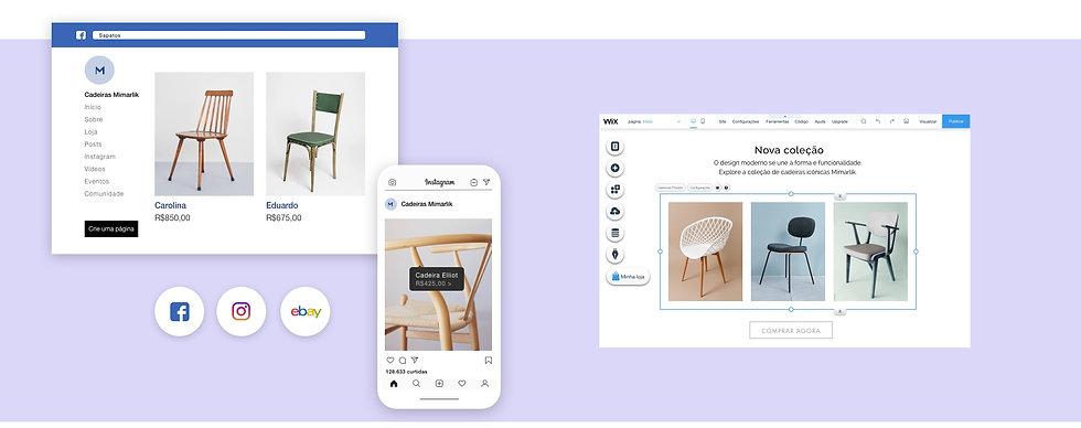 Loja online de cadeiras na plataforma Wix, em diversos canais de venda como Facebook e Instagram