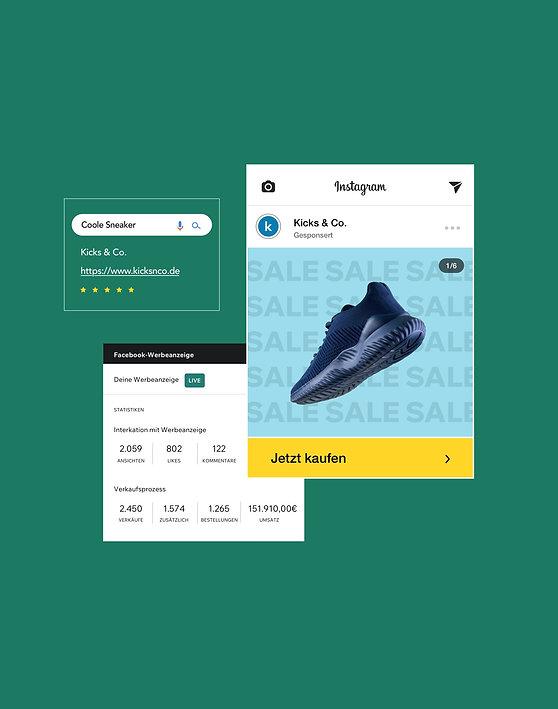 Marketingmaterial eines Onlineshops für Sneaker mit einer Facebook-Werbekampagne, Google-Werbeanzeige-Optimierung und einem Instagram-Shop, das ein Produkt vorstellt.