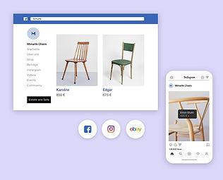 Wix Online-Stuhlgeschäft auf mehreren Verkaufskanälen wie Facebook und Instagram