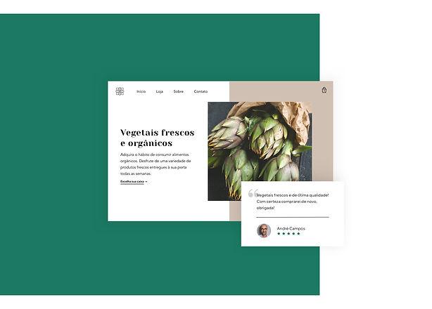 Página inicial e avaliação de uma loja virtual de delivery de vegetais.