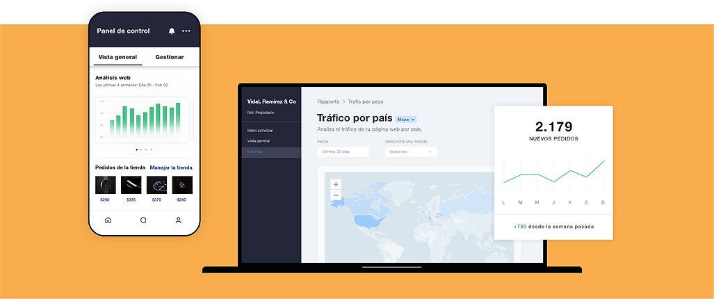 Análisis y datos para negocios de eCommerce, mostrando el volumen de tráfico por informe de país, tabla de nuevos pedidos y panel de análisis para móviles.