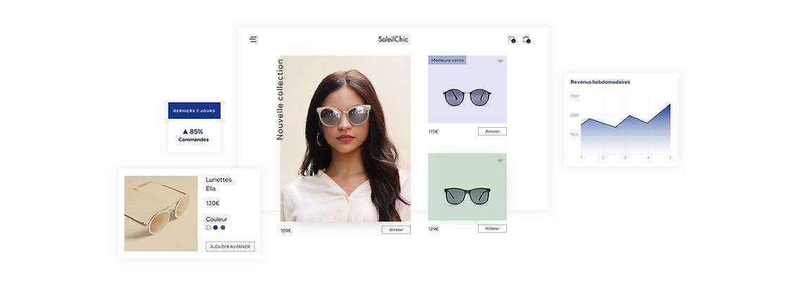 Pages d'articles et données analytiques d'une boutique en ligne Wix pour apprendre à vendre en ligne