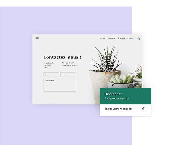 Page de contact et chat en direct pour une boutique de plantes en ligne