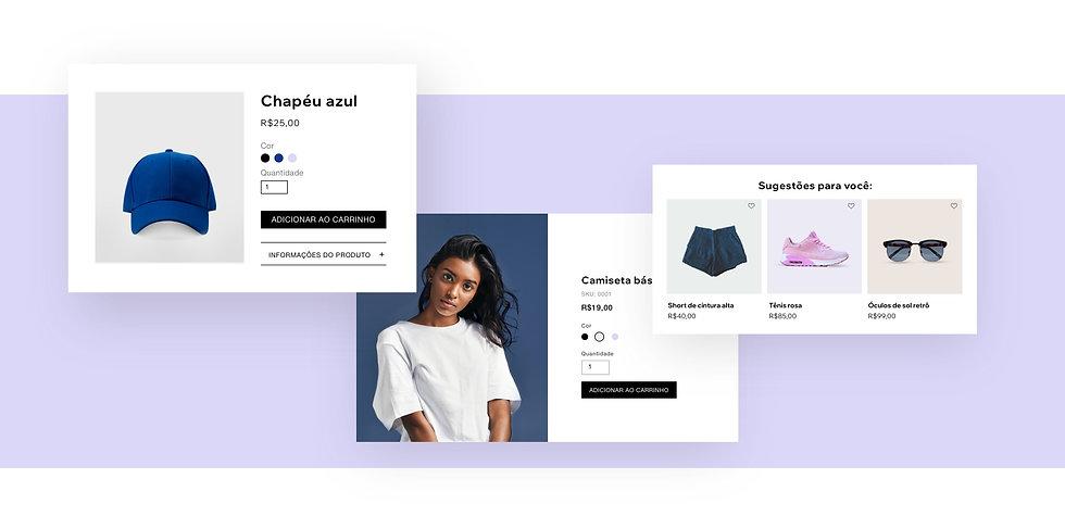 Loja de roupas online, página de produtos com produtos sugeridos