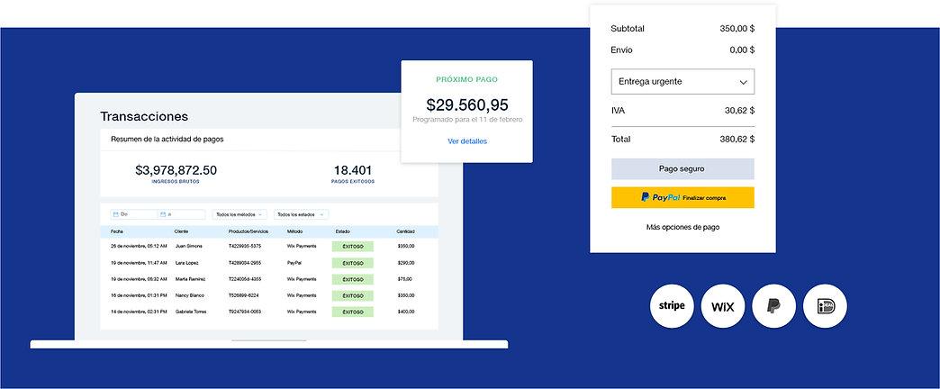 Opciones de pago para empresas de eCommerce con tabla de transacciones, pago seguro en tienda, proveedores y calendario de pagos.