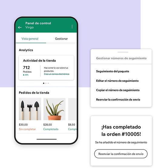 Gestionando un negocio desde la app de Wix Owner con un panel de control analítico y números de seguimiento