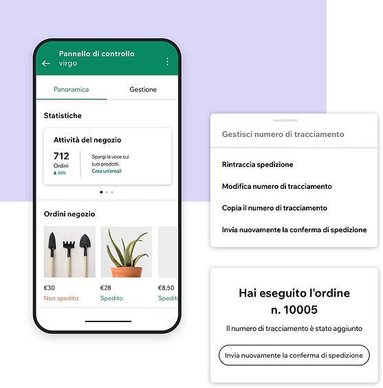 Gestione di un business dall'app Wix Owner con un pannello di controllo per analisi e numeri di tracciamento