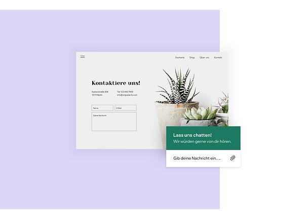 Kontaktseite und Live-Chat eines Online-Shops fürs Zimmerpflanzen