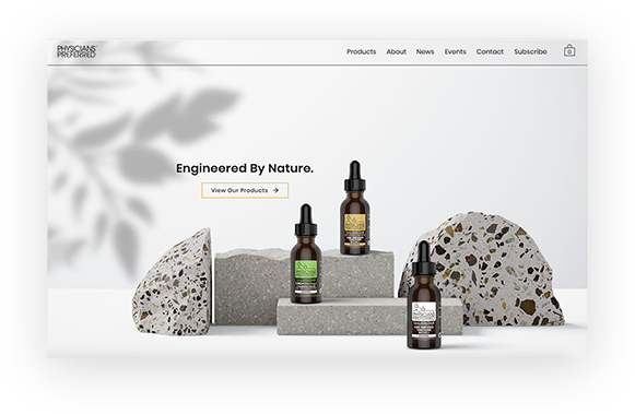 Physicians Preferred CBD eCommerce site storefront with oil tinctures.