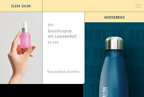 Website eines Beauty-Salons, das Wasserflaschen mit ihrem Logo per Print on Demand verkauft