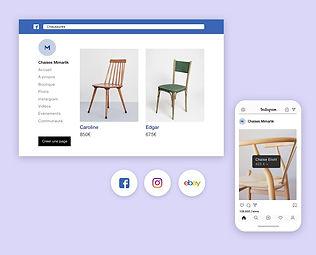 Boutique en ligne Wix de chaises sur plusieurs chaînes comme Facebook et Instagram