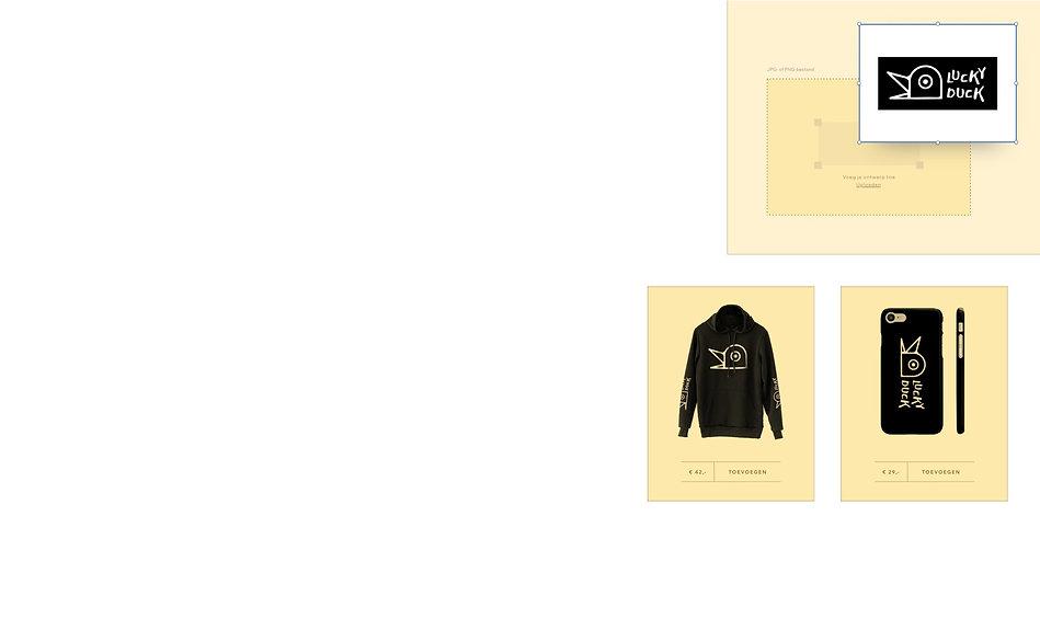 On demand webshop met ontwerpen van een eend op accessoires en kleding