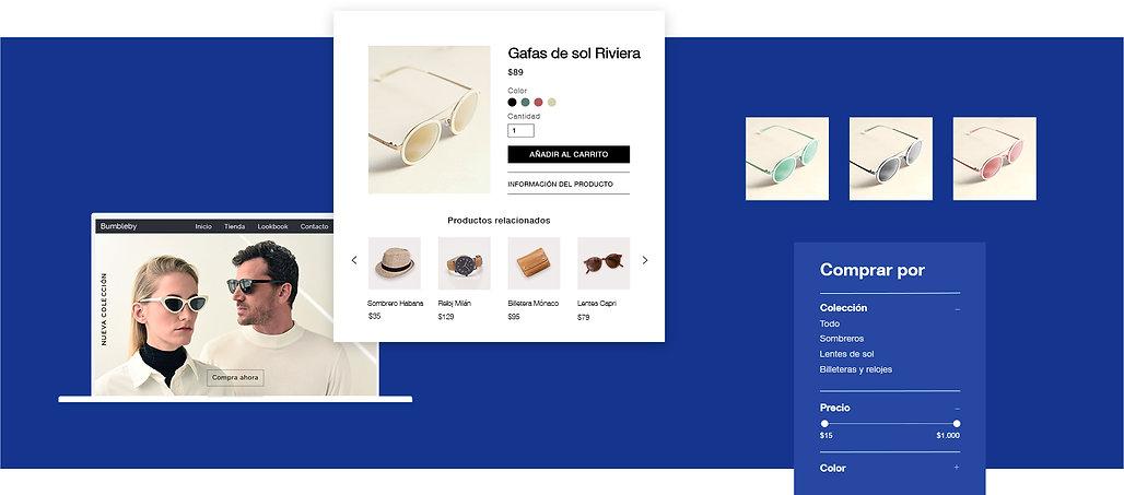 Tienda de accesorios online que muestra el escaparate, la página de productos y filtros por variante del producto.