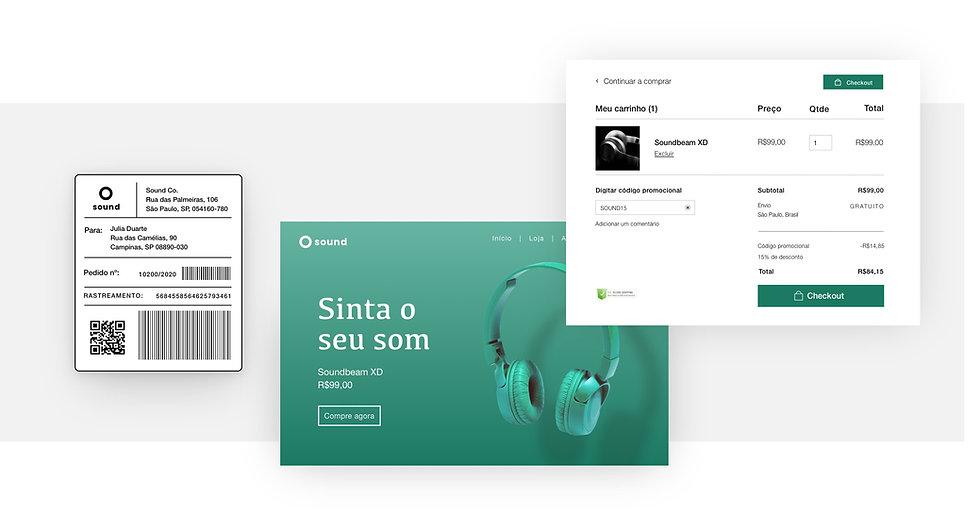 Envio do Wix eCommerce para uma loja online, incluindo etiquetas de envio e página de checkout