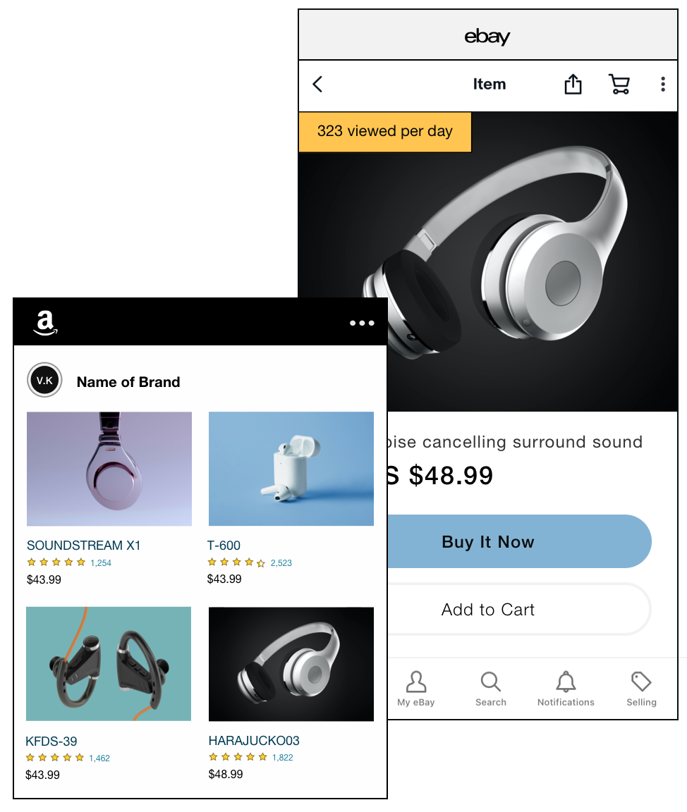 A Wix online store selling headphones on Amazon and eBay marketplaces.