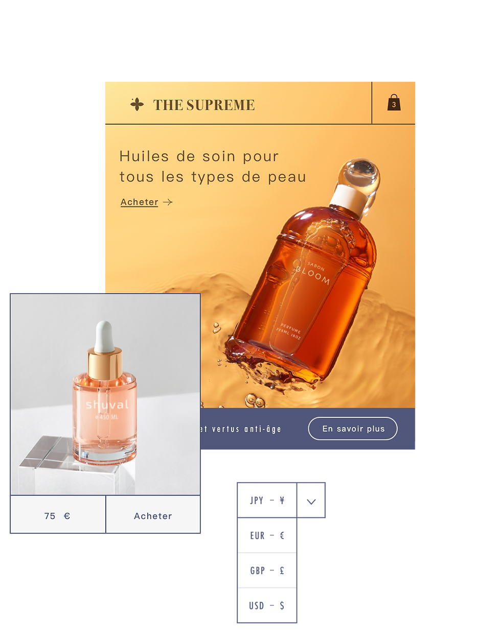 A French perfume store with a currency converter allowing customers to purchase products in their local currencies.