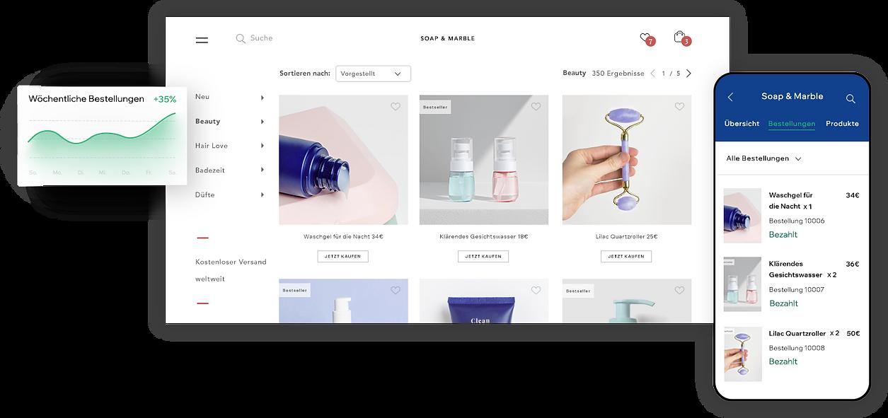 Produktgalerie eines Beauty- und Wellness-Shops