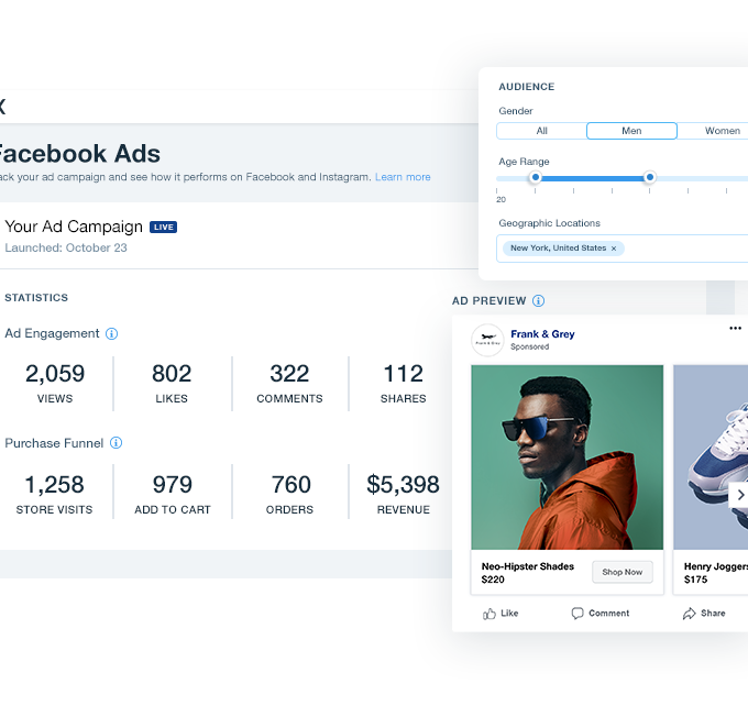 Facebook Ads from Wix ad campaign statistics