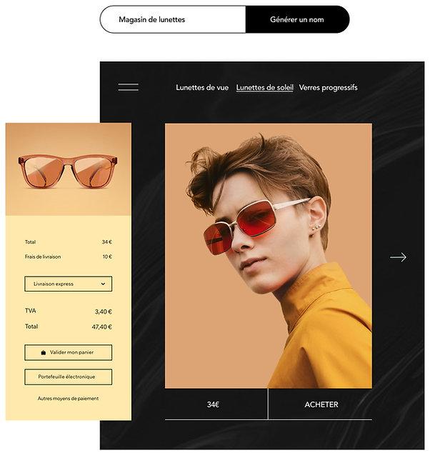 Boutique en ligne de lunettes avec une page d'article et un panier personnalisable.