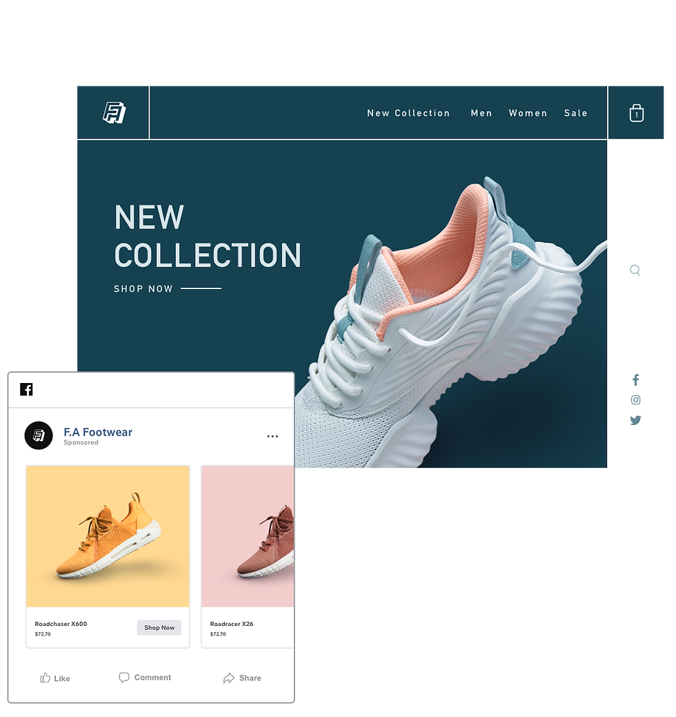 Online shoe store selling products on social media platforms including Facebook and Instagram.
