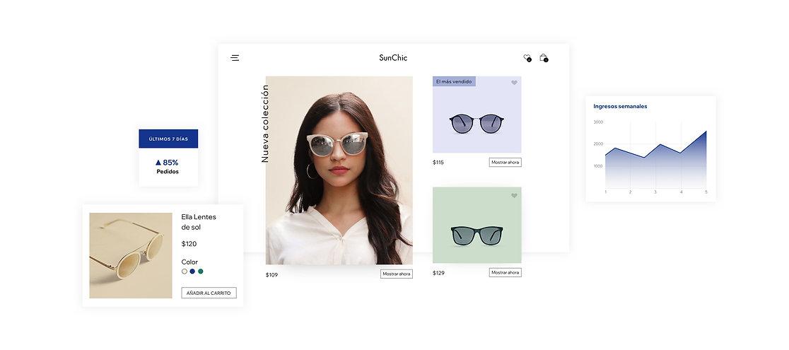 Páginas de productos de la tienda online y estadísticas que muestran cómo vender online con Wix