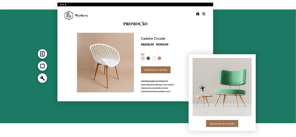 Página de produto da loja online de móveis e decoração com imagens de cadeiras.