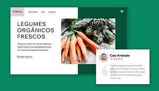 Página inicial de um site Wix de produtos orgânicos
