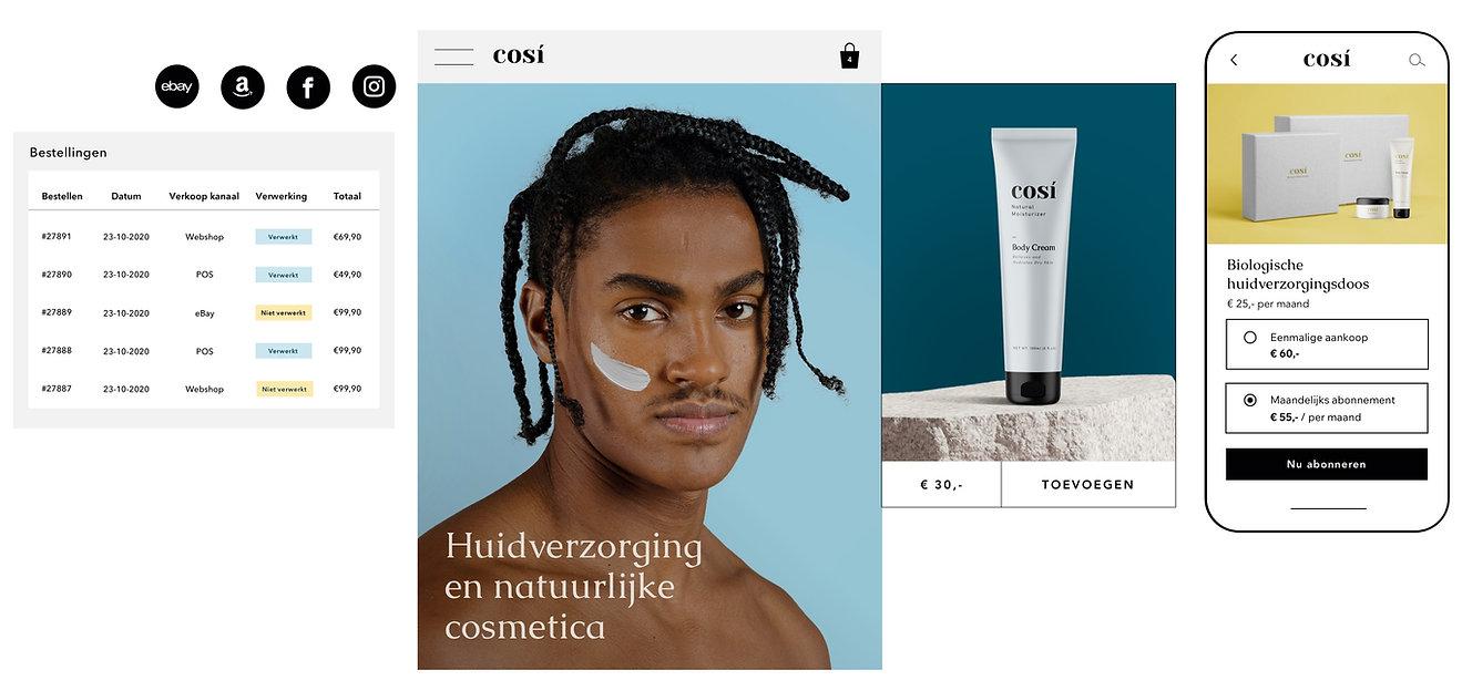 Orderafhandeling met meerdere verkoopkanalen voor een natuurlijke cosmetica website en een optie om een productabonnement op mobiel aan te schaffen.