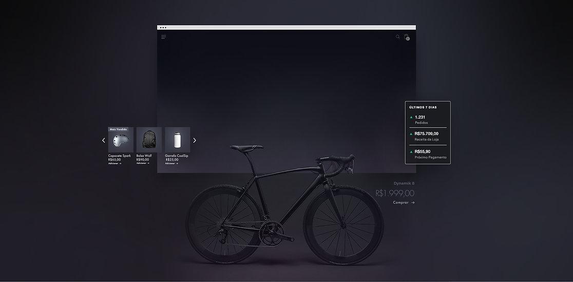 Vitrine online de uma empresa de equipamentos para bicicletas mostrando uma mountain bike preta, visão geral da loja de 7 dias, galeria de produtos e checkout mobile.