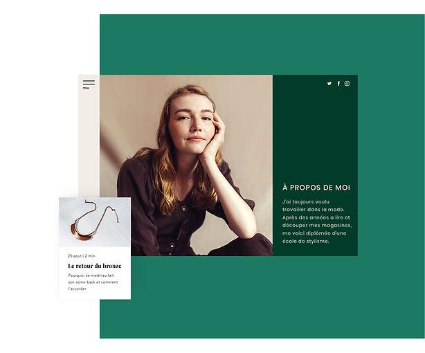 Boutique de bijoux en ligne avec page À propos et post de blog