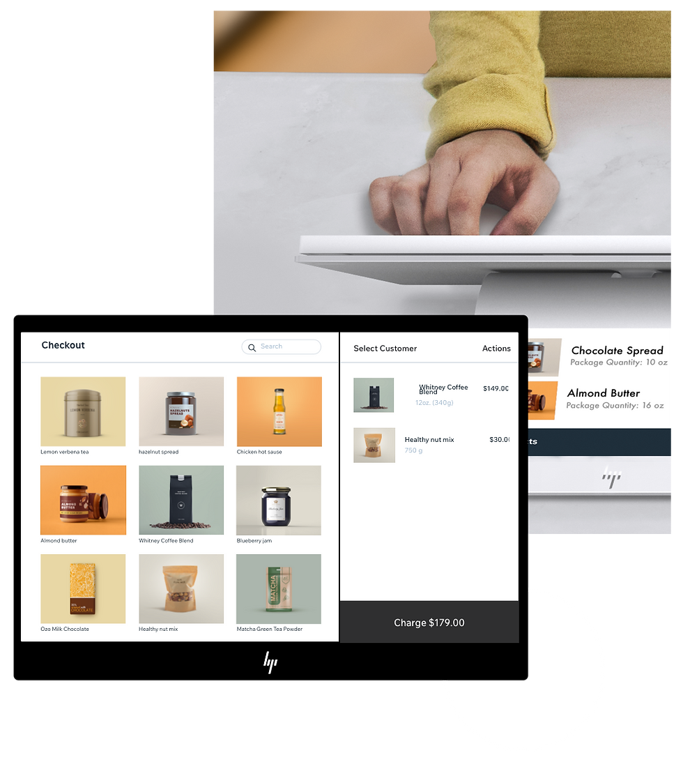 Wix Point of Sale solution being used for in-person and online purchases from a boutique food store.