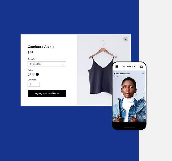 Tienda de indumentaria online con productos en el ordenador y en el móvil
