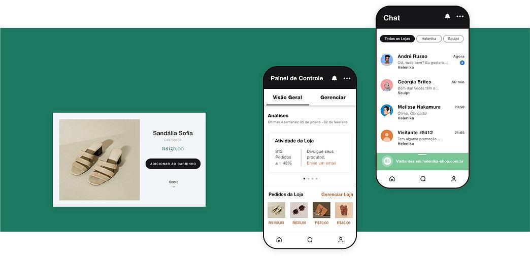 Página de produtos de loja online de roupas e acessórios, gerenciamento de loja mobile a partir do painel e chat online no celular.