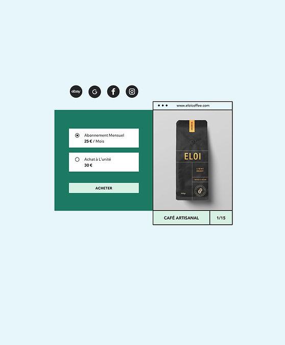 Boutique en ligne qui vend du café et des abonnements mensuels de livraison de café, avec l'image de l'article.