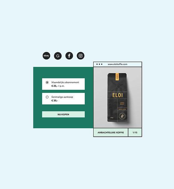 Webshop met een maandelijkse koffie abonnement en eenmalige aankopen met productafbeelding.